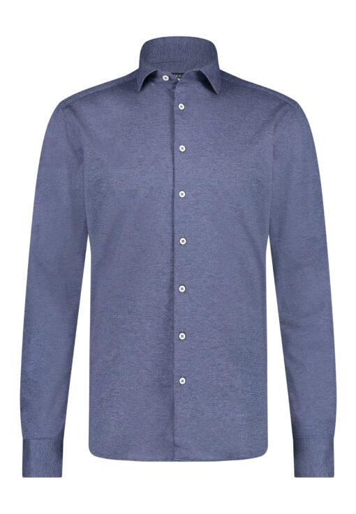 State of Art Effen overhemd met cut away kraag kobalt