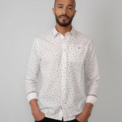 Petrol Industries Printed katoenen overhemd Bright White