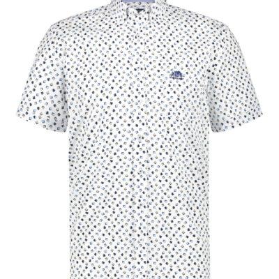 State of Art Overhemd met een geometrische print kobalt/zand