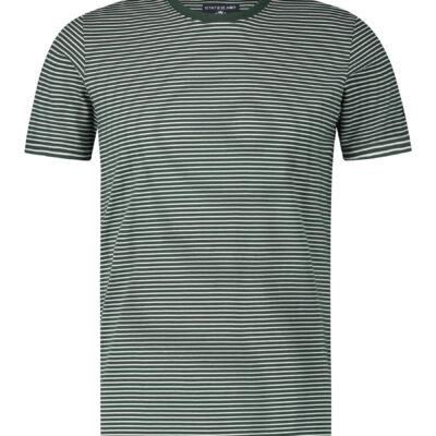 State of Art Gestreept T-shirt met ronde hals donkergroen/wit