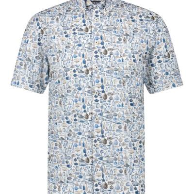 State of Art Regular fit overhemd met flessenprint wit/kobalt