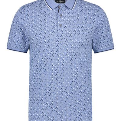 State of Art Polo jersey met all-over print middenblauw/kobalt