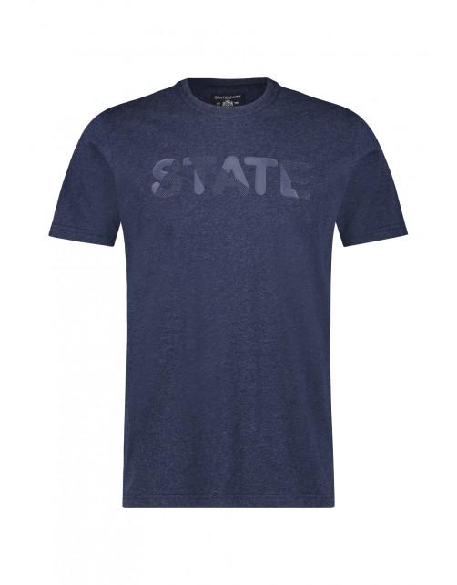 State of Art Ronde hals T-shirt met artwork donkerblauw