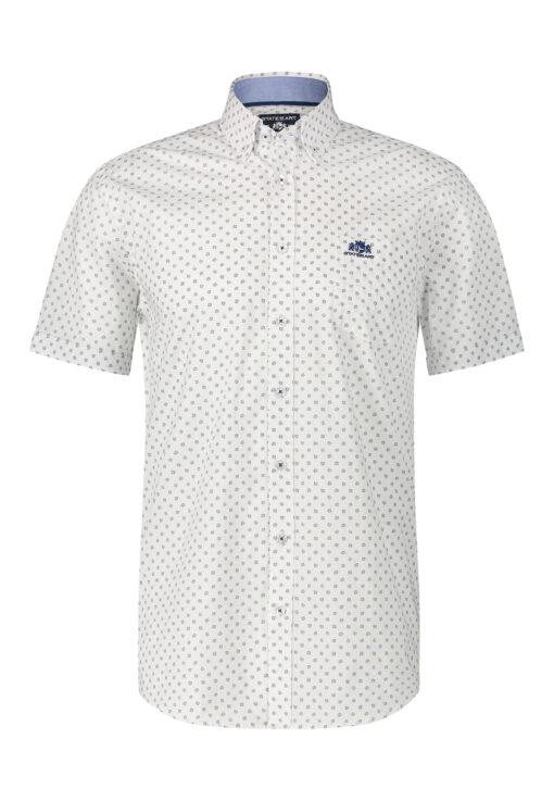 State of Art Overhemd met korte mouwen en regular fit zwavelgeel/kobalt