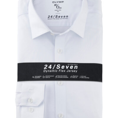 OLYMP No. Six 24/Seven Super Slim, Zakelijke Overhemd, Urban Kent, Wit