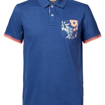 Petrol Industries Botanical pocket polo shirt Dark Capri